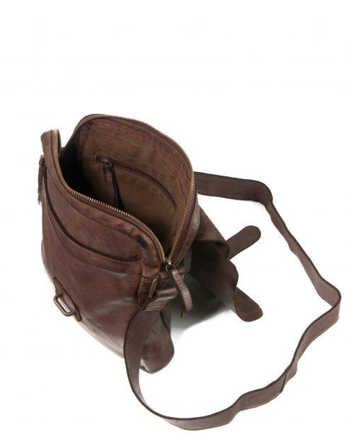 atlas 103 / bandolera industrial piel lavada marrón -