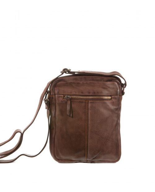 atlas 107 / bandolera industrial piel lavada marrón -