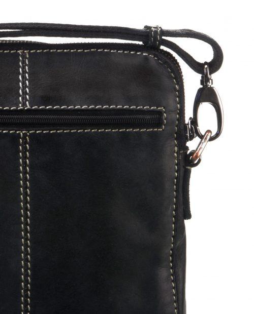 tichi 120 / bandolera grande piel lavada negro -