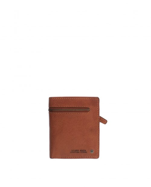 billetero vertical hombre piel lavada marrón cuero atlas