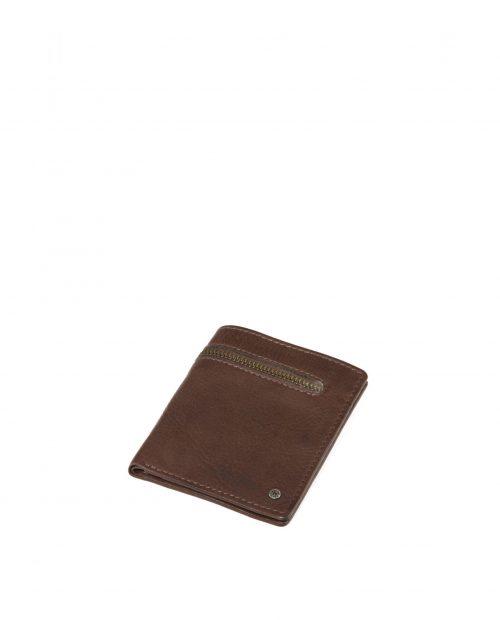 atlas 425 / billetero vertical piel lavada marrón -