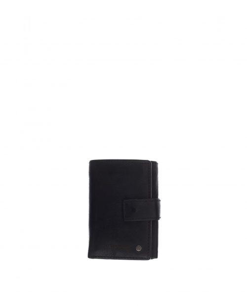 billetero vertical en piel lavada negro con monedero exterior atlas