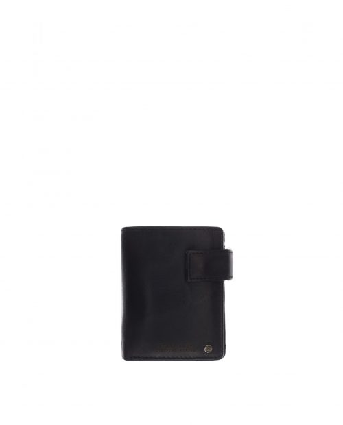 billetero vertical con portamonedas exterior piel lavada negro