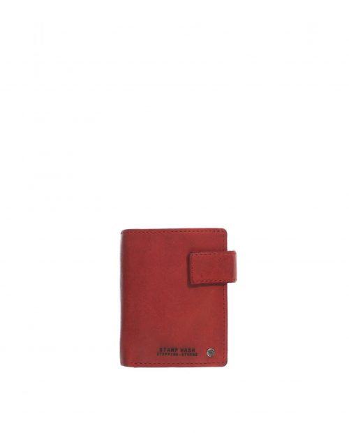 billetero vertical con monedero exterior piel lavada rojo