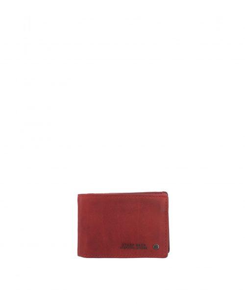 billetero americano con monedero piel lavada rojo
