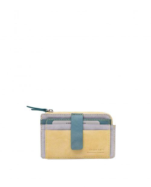 betel 33310 / tarjetero piel lavada amarillo -