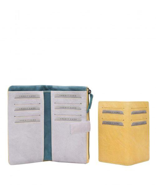 betel 33316 / billetero grande piel lavada amarillo -