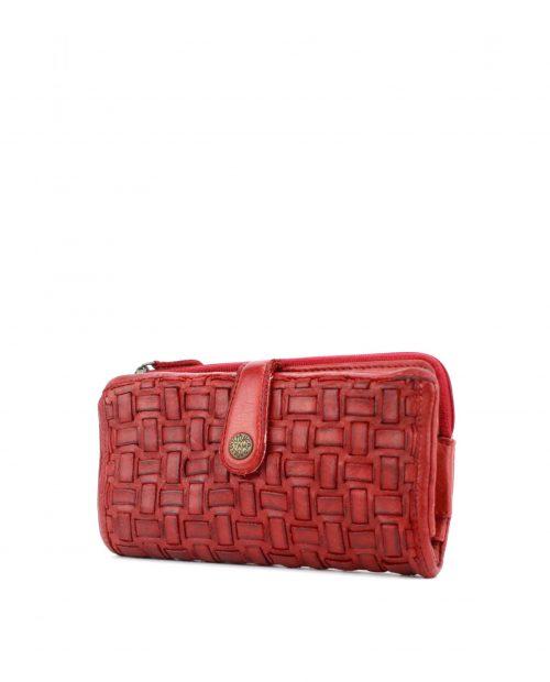 maia 42710 / billetero grande piel trenzada rojo -
