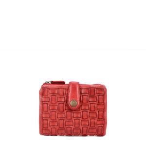 maia 42712 / billetero compacto piel trenzada rojo 6