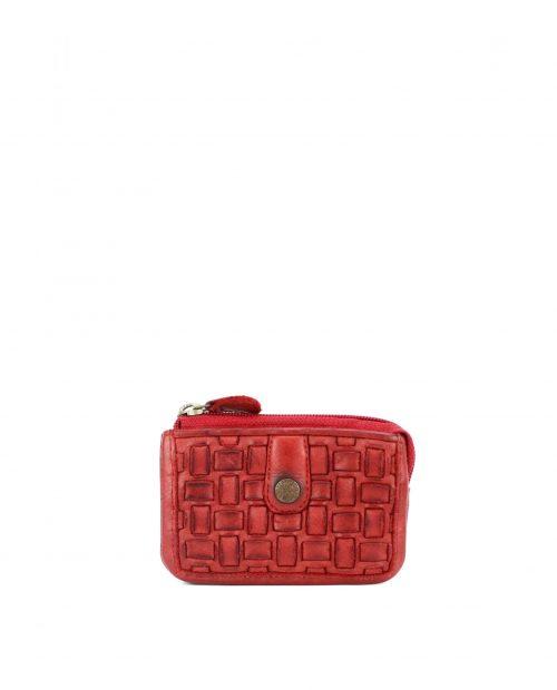 maia 42713 / monedero piel trenzada rojo 1