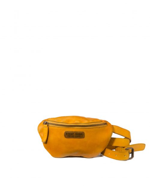 riñonera piel lavada amarillo vela