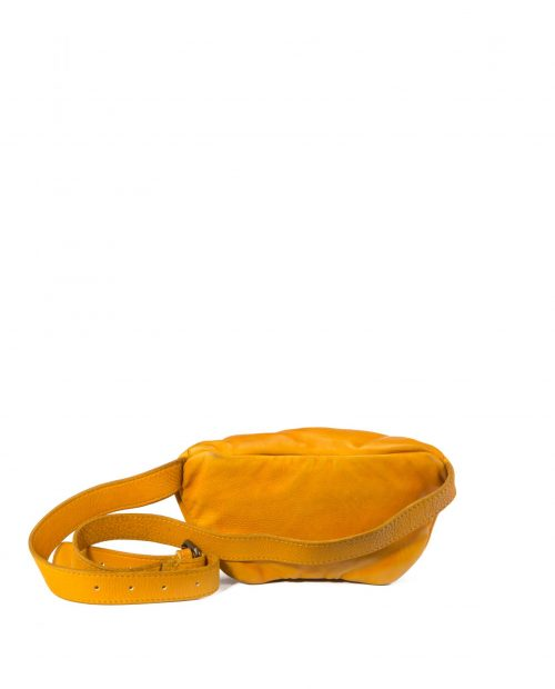 vela 9751 / riñonera piel lavada amarilla -