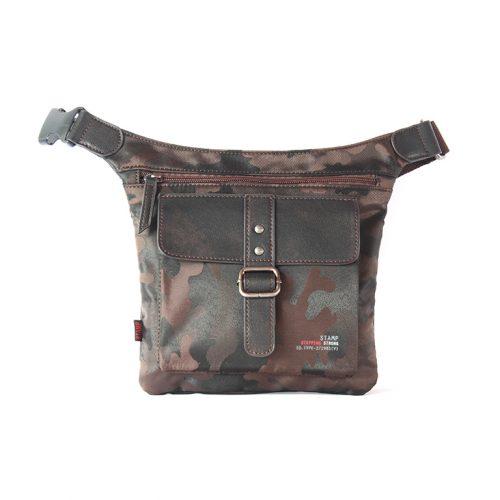Draco / Bolso bandolera en nylon camuflaje marrón oscuro