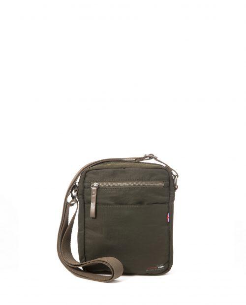 ALTAIR-Bolso bandolera de hombre Stamp en nylon lavado color kaki-BHST04949KA-STAMP