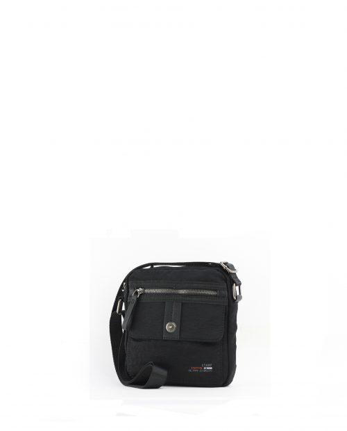 ALTAIR-Bolso bandolera de hombre Stamp en nylon lavado color negro-BHST04954NE-STAMP