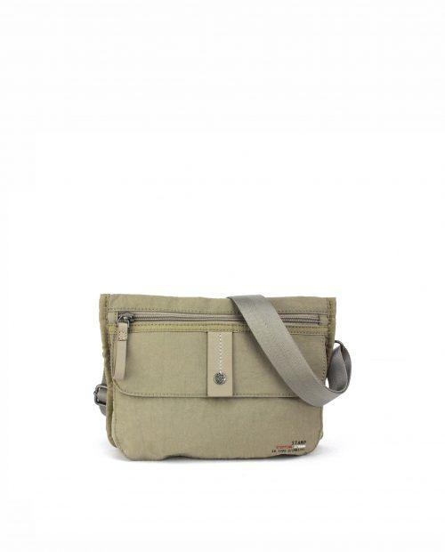 ALTAIR-Bolso bandolera de mujer Stamp en nylon lavado color beige-BMST04955BE-STAMP