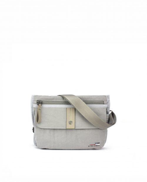 ALTAIR-Bolso bandolera de mujer Stamp en nylon lavado color gris-BMST04955GR-STAMP