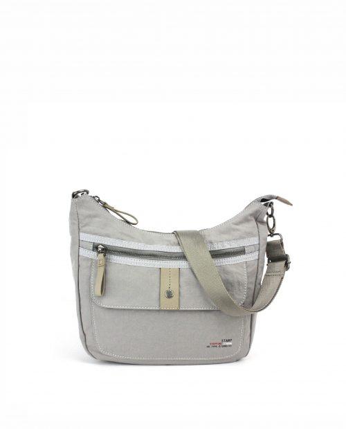 ALTAIR-Bolso bandolera de mujer Stamp en nylon lavado color gris-BMST04957GR-STAMP