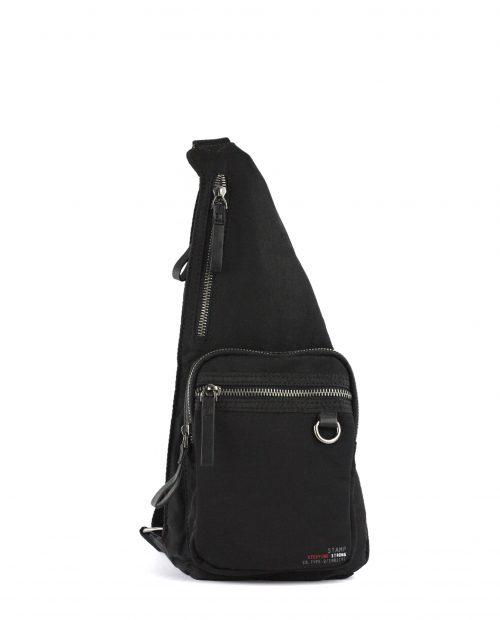 ALTAIR-Mochila cruzada unisex Stamp en nylon lavado color negro-BHST04951NE-STAMP