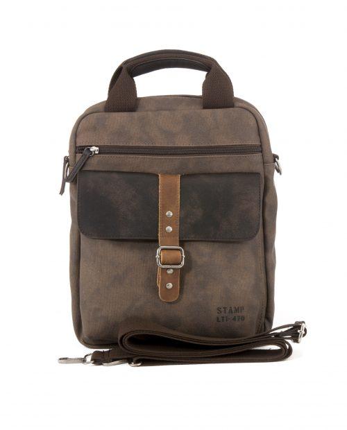 DRACO-Bandolera de hombre Stamp en lona color marrón-BHST04731MA-STAMP