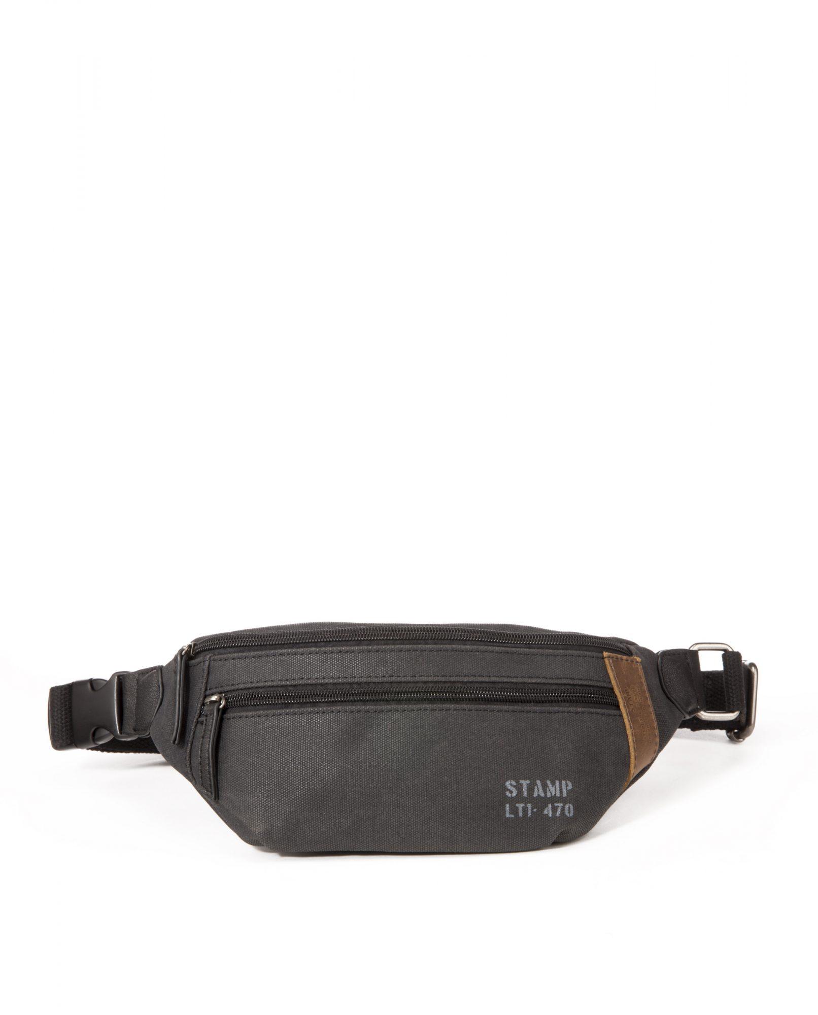 DRACO-Riñonera de hombre Stamp en lona color negro-BHST04730NE-STAMP
