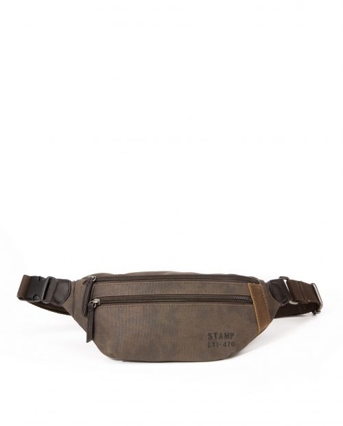 DRACO-Riñonerade hombre Stamp en lona color marrón-BHST04730MA-STAMP