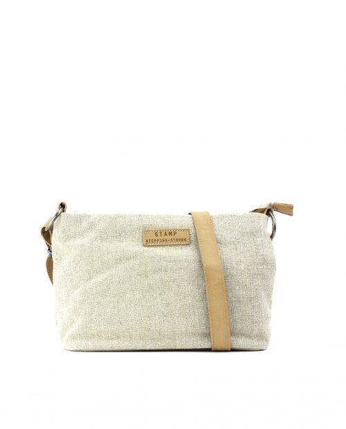FENI-Bolso bandolera de algodón yute mujer Stamp color beige-BMST00114BE-STAMP