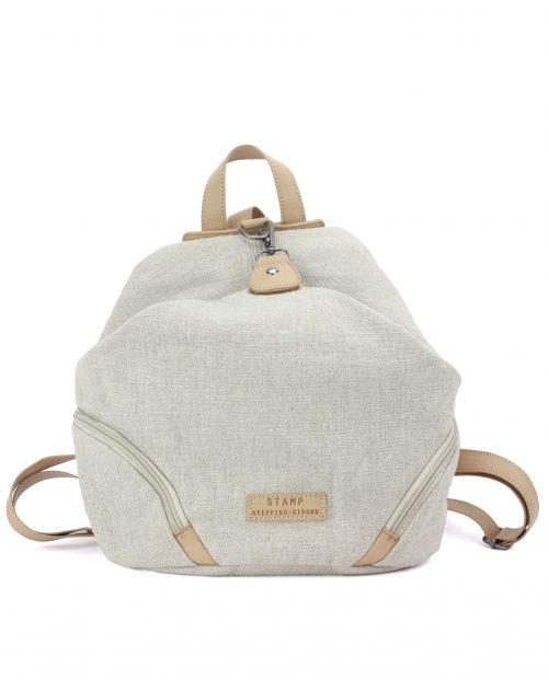 FENI-Mochila de algodón yute mujer Stamp color beige-BMST00110BE-STAMP