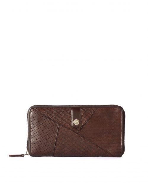 LEYLA-Billetero de piel lavada mujer Stamp color marrón-MMST62714MA-STAMP