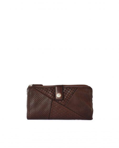 LEYLA-Billetero de piel lavada mujer Stamp color marrón-MMST62715MA-STAMP