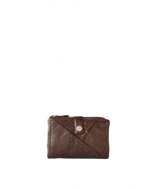 LEYLA-Billetero de piel lavada mujer Stamp color marrón-MMST62716MA-STAMP