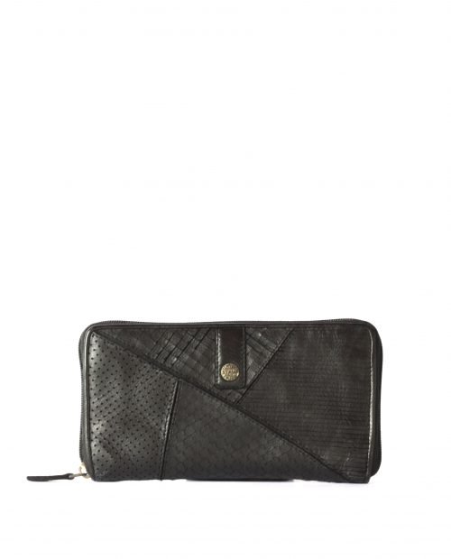 LEYLA-Billetero de piel lavada mujer Stamp color negro-MMST62714NE-STAMP