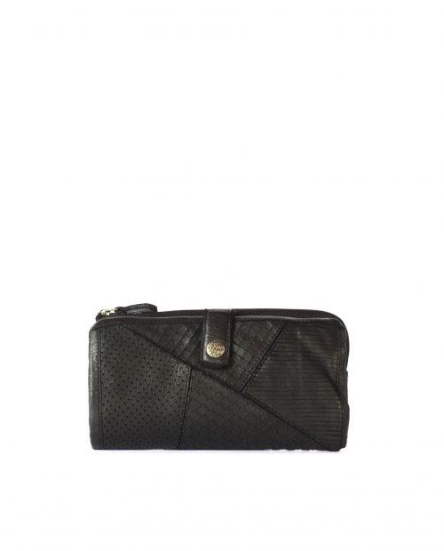 LEYLA-Billetero de piel lavada mujer Stamp color negro-MMST62715NE-STAMP
