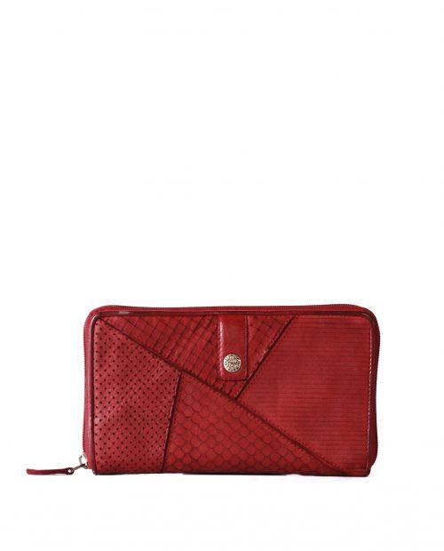 LEYLA-Billetero de piel lavada mujer Stamp color rojo-MMST62714RO-STAMP