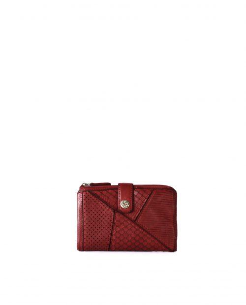 LEYLA-Billetero de piel lavada mujer Stamp color rojo-MMST62716RO-STAMP
