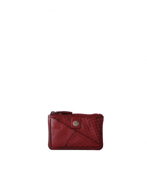 LEYLA-Portamonedas de piel lavada mujer Stamp color rojo-MMST62717RO-STAMP