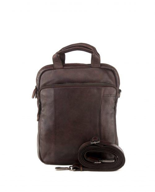 TICHI-Bandolera convertible en mochila Stamp en piel color marrón-BHST00131MA-STAMP