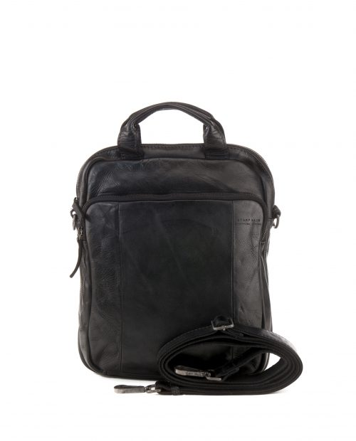 TICHI-Bandolera convertible en mochila Stamp en piel color negro-BHST00131NE-STAMP