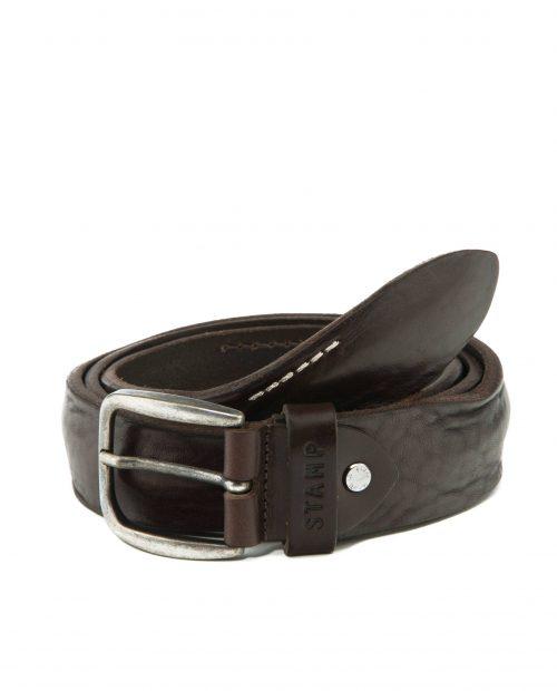 CINTURONES-Cinturón de hombre Stamp en piel lavada marrón-CIST21814MAL