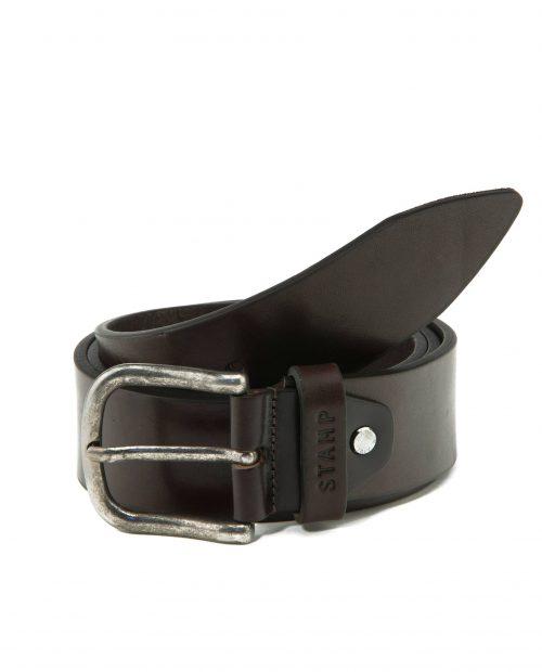CINTURONES-Cinturón de hombre Stamp en piel vacuno marrón-CIST21815MAL