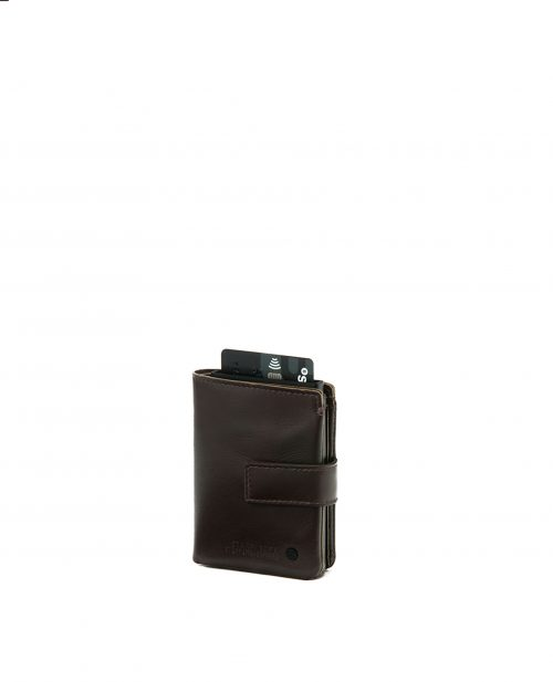 NEWEST-Billetero de hombre Stamp en piel nappa marrón-MHST27518MA-STAMP