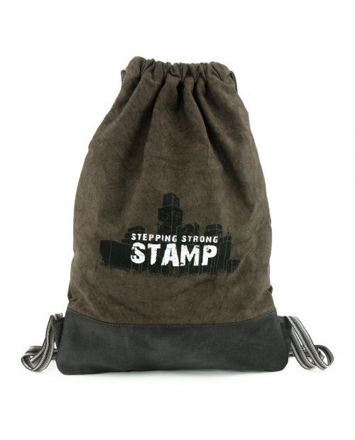 TERRA-Mochila upcycling Stamp de lona en color marrón-BMST00075M1-STAMP